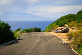 Old boat at the way. Greek lanscapes. — Stock Photo