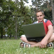 Young man with notebook — Stock Photo