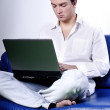 Yuppie with laptop — Stock Photo
