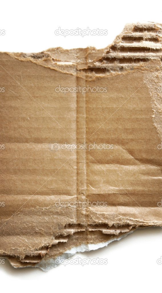 Piece of torn corrugated cardboard on pure white background.  Stock Photo #10362596