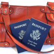 Passports with orange purse — Stock Photo