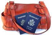 Passports with orange purse — Stock Photo