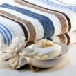 Towel with soap — Stock Photo