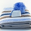 Stock Photo: Towel with soap and sponge