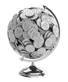 Gift for businessman Globe of coins isolated on wh — Stock Photo