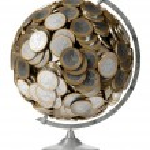 Euro money globe isolated on white background — Stock Photo #10464984