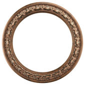 Round ornamented old gold picture frame isolated on white — Stock Photo