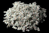 Huge pile of American money on black background — Stock Photo