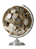 Euro money globe isolated on white background — Stock Photo