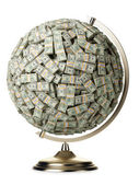 Globe of U.S. dollars isolated on a white background — Stock Photo