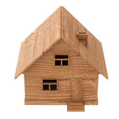 Toy wooden house isolated on white — Stock Photo