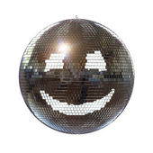 Smiling disco ball on isolated white background — Stock Photo