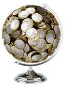 ユーロのお金グローブ ホワイト バック グラウンド上に分離されて — ストック写真