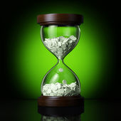 Old sand clock with pills — Stock Photo