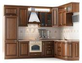 Hard hout keuken in witte studio — Stockfoto