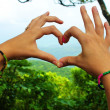 Heart made of hands — Stock Photo