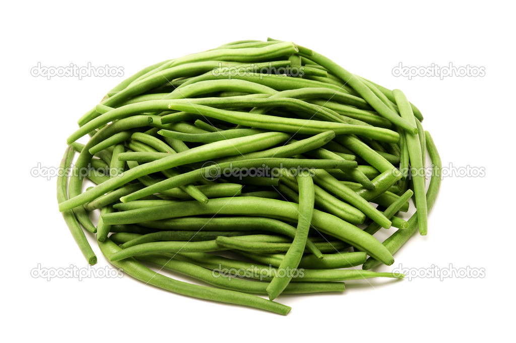 Whole green beans on a white background  Stock Photo #10275425