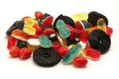Gummy candies and liquorice — Stock Photo