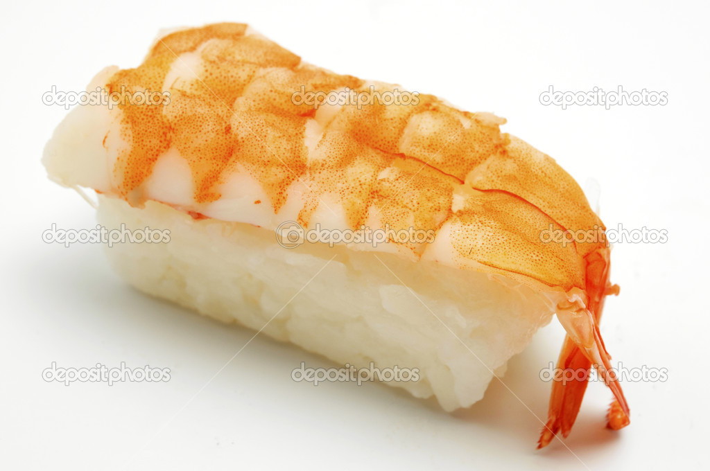 Nigirizushi (Prawn) on a white background — Stock Photo #10296606