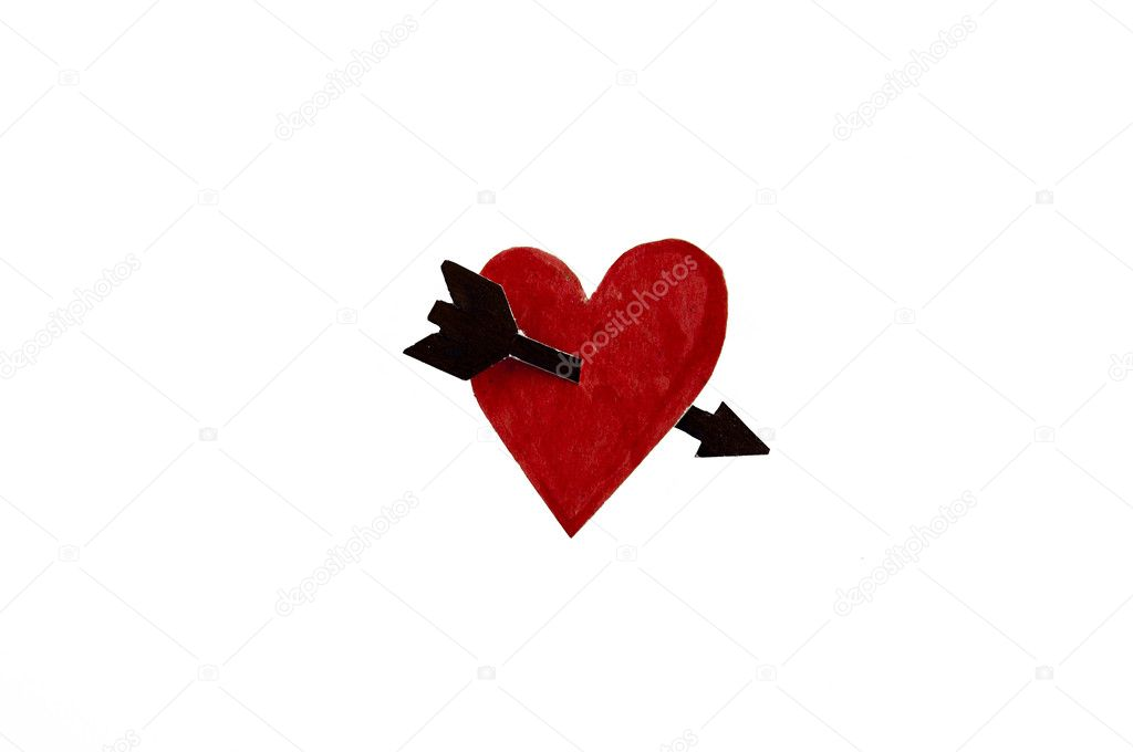 Arrow pierces the heart isolated on white background — Stock Photo #10440969