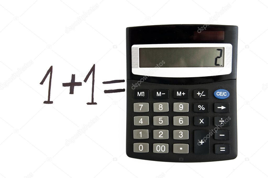 Mathematical calculus, one plus one is two — Stock Photo #10538751