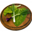 Mix lettuce, sorrel and onions — Stock Photo