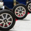 Classic car wheels with alloy rims — Stock Photo