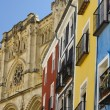 Cathedral of Cuenca (Spain) and colorful facades — Stock Photo