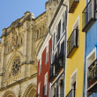 Cathedral of Cuenca (Spain) and colorful facades - Stock Photo