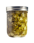 Sliced Jalapenos (Capsicum Annuum) Preserved in a Glass Jar — Stok fotoğraf