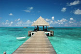 Wharf with pavilion at Maldives — Stock Photo