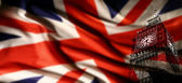 Great Britain flag with Big Ben — Stock Photo