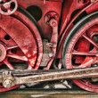 Red retro train wheels — Stock Photo #10410451