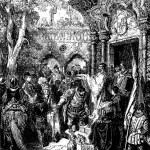 Постер, плакат: On the way to govern his island Sancho receives Don Quixotes benediction
