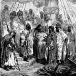 Постер, плакат: Treacherous Arabs bring the head of Pagan de Oria Pagano Doria to the Turkish general
