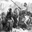 Don Quixote agrees to slay a giant for Dorotea — Stock Photo