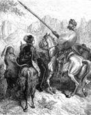 Don Quixote agrees to slay a giant for Dorotea — Stock Photo