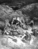 An exploit of Felixmarte of Hyrcania: chopping five giants — Stock Photo