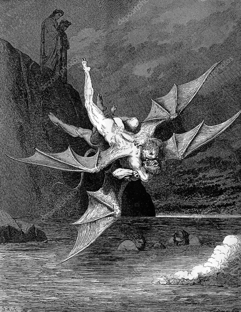 Picture is from the Vision of hell by Dante Alighieri, popular edition, published in 1892, London-England. Illustration by Gustave Dore — Stock Photo #10443858
