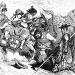 Постер, плакат: Sancho and Don Quijote with the three village girls