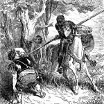 Постер, плакат: The Don threatens the peasant who was whipping the shepherd boy