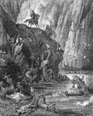 騎士は身の毛もよだつモンスターが生息沸騰のピッチの湖に来る — ストック写真
