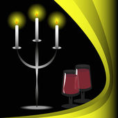 Candles and wine — Stock Vector