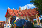 Four wings Thai Temple Wat Chalong and elephant — Stock Photo