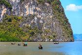 Thai boats in James Bond islands Ko Tapu — Stock Photo