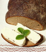 Cottage cheese with bread — Stok fotoğraf