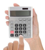 Hand met calculator — Stockfoto
