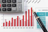 Pen showing diagram on financial report — Foto de Stock