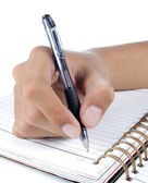 Hand writing on the notebook — Stock Photo