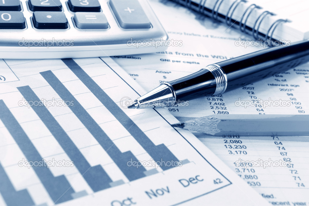 Background of business graph and stationary pen — Stock Photo #10494469